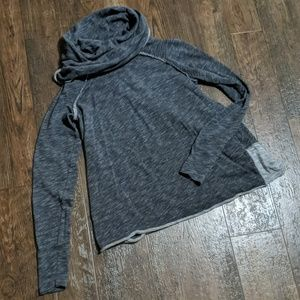 Free People Cowl Neck Two Tone Grey Hoodie